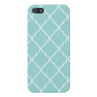 Girly Turquoise Quatrefoil Pattern iPhone 5/5S Cover