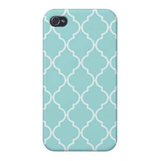 Girly Turquoise Quatrefoil  Patterns Covers For iPhone 4