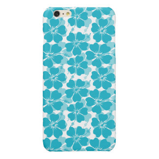 Girly Turquoise Tropical Hibiscus Pattern Glossy iPhone 6 Plus Case