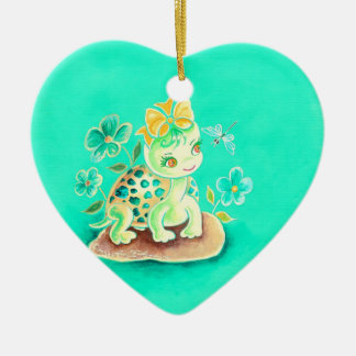 Girly Turtle Christmas Ornament