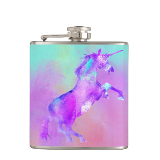 Girly Unicorn Cute Pink Teal Purple Watercolors Hip Flask