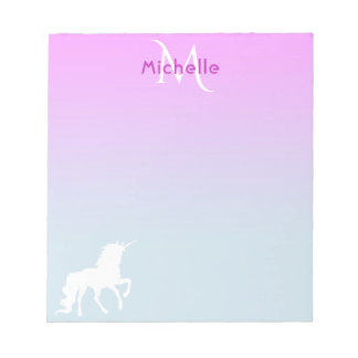 Girly unicorn on Pink and blue monogrammed Notepad
