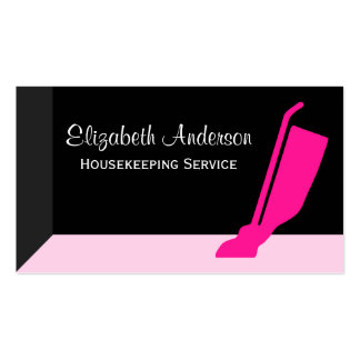 Girly Vacuum Pink and Black Housekeeping Service Pack Of Standard Business Cards