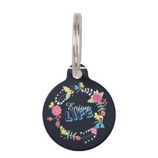 "girly vibrant floral circle ""Enjoy Life"" words Pet Name Tag"