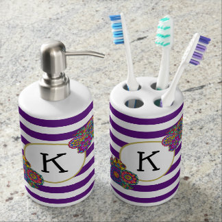Girly Vibrant Flowers Purple Striped Monogram Bathroom Set