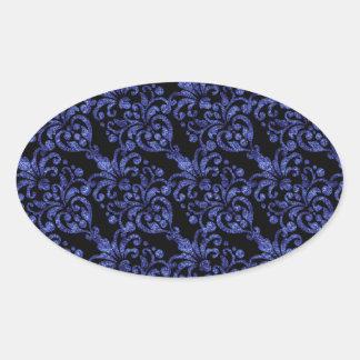 Girly Victorian Blue Glittery Damask Pattern Oval Sticker
