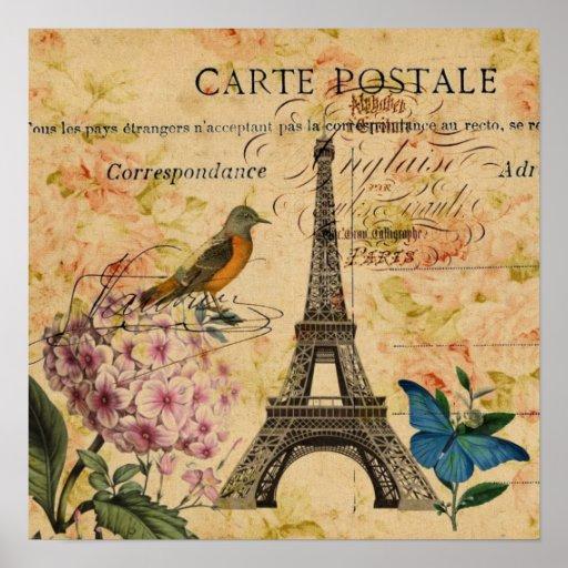 girly vintage bird paris eiffel tower print