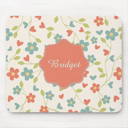 Girly Vintage blue-orange floral. Personalised Mouse Pad