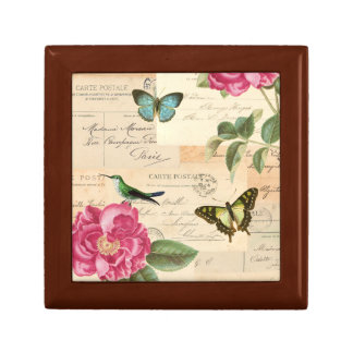 Girly vintage box with roses and butterflies small square gift box