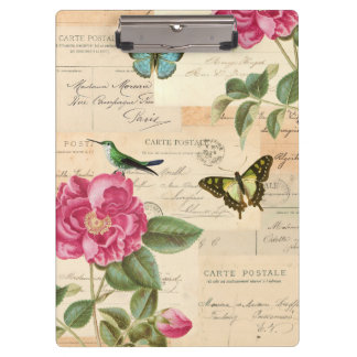 Girly vintage clipboard with roses and butterflies