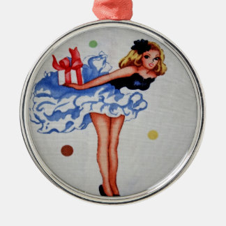 Girly Vintage Fabric Necklace Round Metal Christmas Ornament
