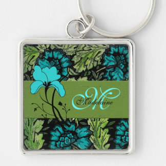 Girly Vintage Floral Blue and Green Monogrammed Silver-Colored Square Key Ring