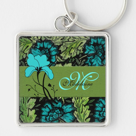 Girly Vintage Floral Blue and Green Monogrammed Silver-Colored