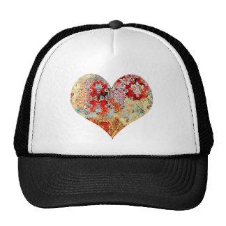 Girly Vintage floral damask heart Cap