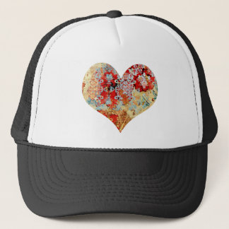 Girly Vintage floral damask heart Trucker Hat