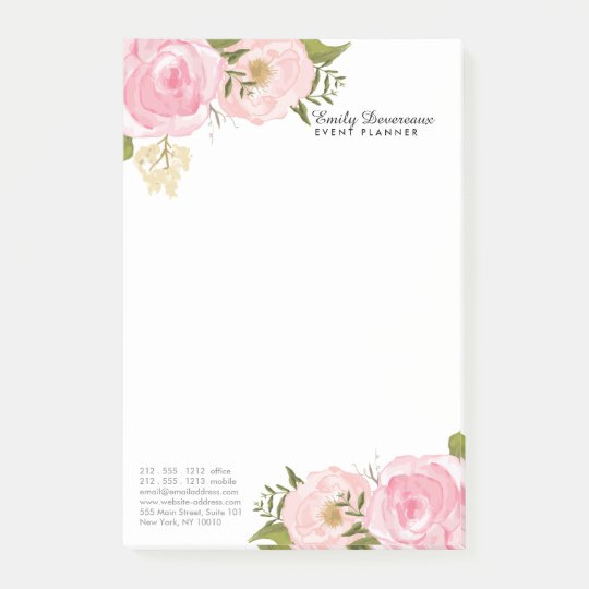 Girly Vintage Floral Pink Roses Peony Personalised Post-it
