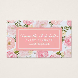 Girly Vintage Floral Pink Roses Peony Personalized Business Card