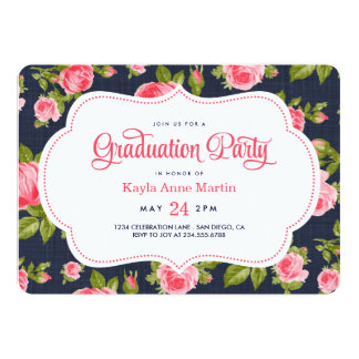 Girly Vintage Floral Print Graduation Party Card