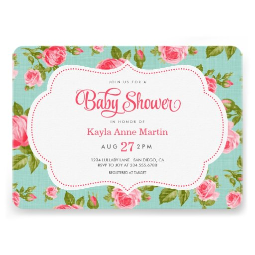 Girly Vintage Floral Roses Baby Shower Invitation