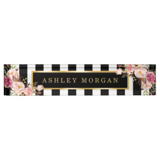 Girly Vintage Floral with Gold Black White Stripes Name Plates