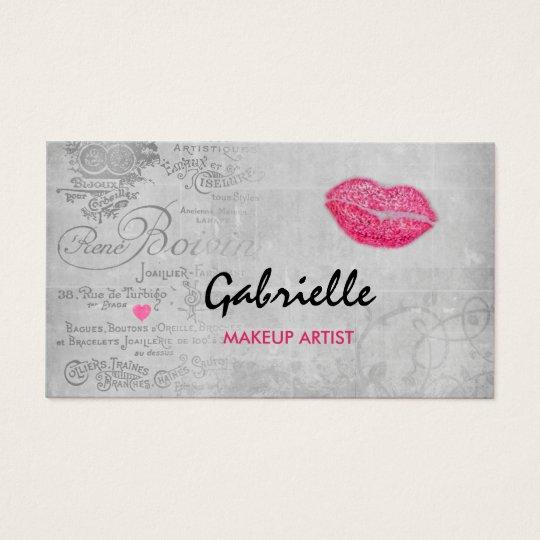 Girly Vintage Grunge Pink Lips Kiss Makeup Artist