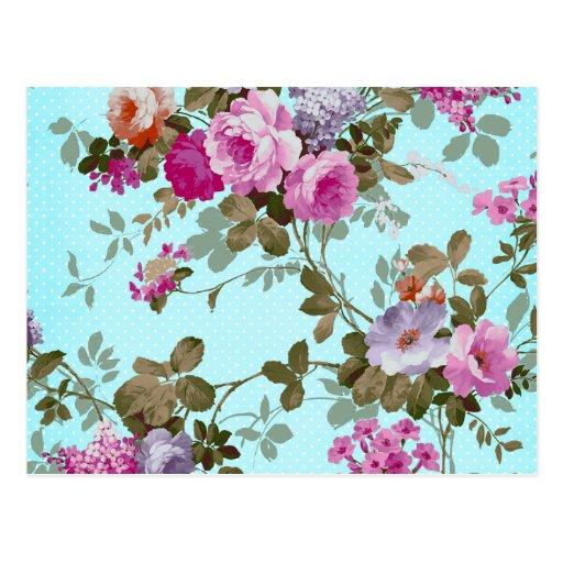 Girly Vintage Pink Floral Teal Trendy Polka Dots Post Card