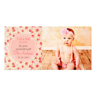 Girly Vintage Pink Roses Any Occasion Thank You Card