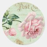 Girly Vintage Pink Roses Elegant Floral Cottage Round Sticker