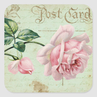 Girly Vintage Pink Roses Elegant Floral Cottage Square Sticker