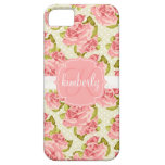 Girly Vintage Pink Roses Monogrammed iPhone 5 Cover