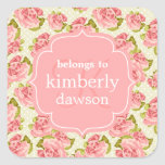 Girly Vintage Pink Roses Monogrammed Square Stickers