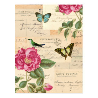 Girly vintage postcard with roses and butterflies