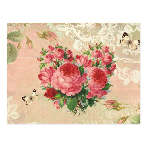 Girly Vintage Rose Heart Collage Post Card