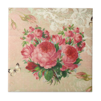 Girly Vintage Rose Heart Collage Small Square Tile