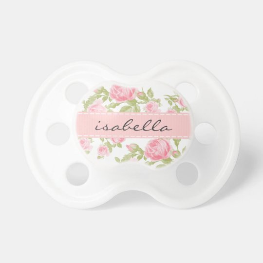 Girly Vintage Roses Floral Monogram Baby Pacifier