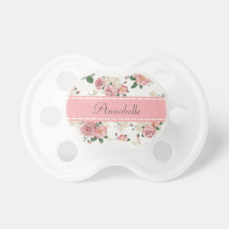 Girly Vintage Roses Floral Monogram Baby Pacifiers