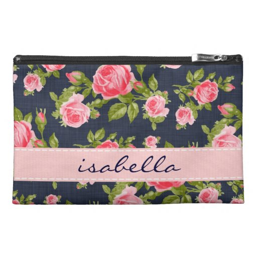 Girly Vintage Roses Floral Monogram Travel Accessory Bags