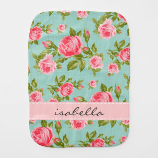 Girly Vintage Roses Floral Monogram Burp Cloth