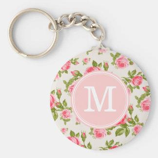 Girly Vintage Roses Floral Monogram Key Ring
