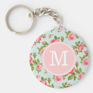 Girly Vintage Roses Floral Monogram Key Ring