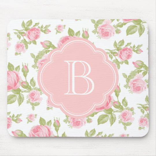 Girly Vintage Roses Floral Monogram Mouse Mat