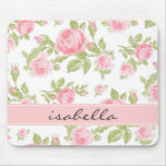 Girly Vintage Roses Floral Monogram Mouse Mats