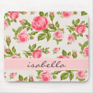 Girly Vintage Roses Floral Monogram Mouse Pads