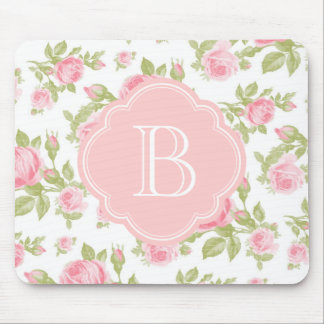 Girly Vintage Roses Floral Monogram Mousepads