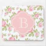Girly Vintage Roses Floral Monogram Mousepad