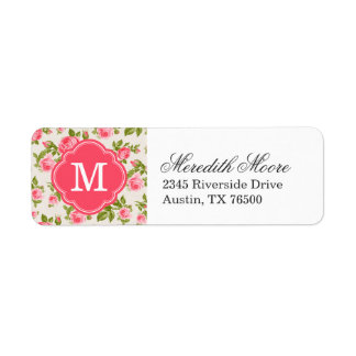 Girly Vintage Roses Floral Monogram Return Address Label