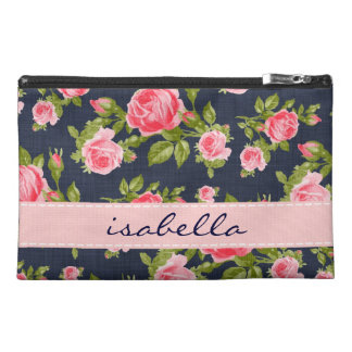 Girly Vintage Roses Floral Monogram Travel Accessory Bag