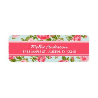 Girly Vintage Roses Floral Print Return Address Label