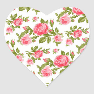 Girly Vintage Roses Floral Print Heart Sticker