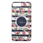 Girly vintage roses floral watercolor stripes Case-Mate iPhone case